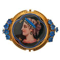 Victorian Diamond Enamel Yellow Gold Miniature Portrait Brooch at 18k Gold Jewelry, Enamel Jewelry, Antique Jewelry, Vintage Jewelry, Diamond Jewelry, Jewellery, Art Nouveau, Gothic, Miniature Portraits