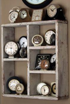 rustic shelving - 'clock wall'