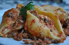 Pasta shells filled with ricotta and baked in a tomato meat sauce - A Maltese Mouthful