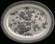 Wonderful Aesthetic Design Black Transferware Platter, Cumberlidge & Humphreys,Staffordshire Tunstall, England 1880