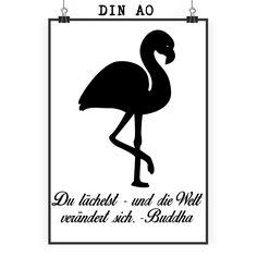 Poster DIN A0 Flamingo aus Papier 160 Gramm  weiß - Das Original von Mr. & Mrs. Panda.  Jedes wunderschöne Poster aus dem Hause Mr. & Mrs. Panda ist mit Liebe handgezeichnet und entworfen. Wir liefern es sicher und schnell im Format DIN A0 zu dir nach Hause. Das Format ist 841 mm x 1189 mm.    Über unser Motiv Flamingo  Flamingos gehören zu den schönsten Vögeln im Tierreich und ähneln pinkfarbenen Störchen.Der Flamingo kommt in Süd-, Mittel- und Nordamerika sowie Europa, Afrika und Asien…