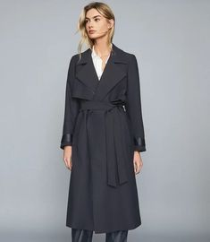 Invest in a spectrum of outerwear options this season. From luxe leather jackets to a coveted cord blazer or winter coat, shop the full range now. Reiss, Wide Leg Trousers, Long A Line, Trendy Outfits, High Fashion, Duster Coat, Wrap Dress, Women Wear, Shirt Dress