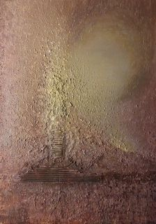 Lyset ekspanderer 70x50 cm.  Akryl på lerret m/ blandingsteknikk.   Bildet går i fargene:  Off-white, gull-beige, lys- og mørk teracotta, brun.
