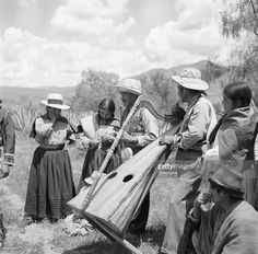 The music of the harp accompanies the Aymara Indian dance of the...