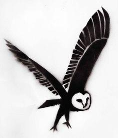 Flying owl stencil - photo#6