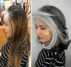 Pelo Color Plata, Grey Hair Transformation, Grey Hair Inspiration, Grey Hair Don't Care, Gray Hair Highlights, Gray Hair Growing Out, Covering Gray Hair, Transition To Gray Hair, Front Hair Styles