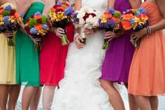Rainbow bridal party