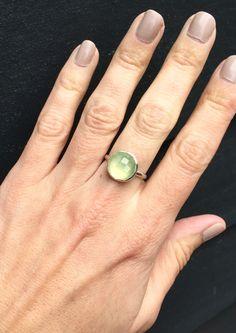 Elegant Boho Rocker Chic Faceted Apple Green Prehnite Solitaire Ring by GildedBug on Etsy