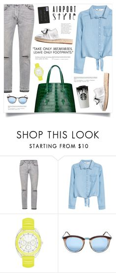 """Jet Set: Airport Style"" by marina-volaric ❤ liked on Polyvore featuring Louis Vuitton, H&M, Le Specs and airportstyle"
