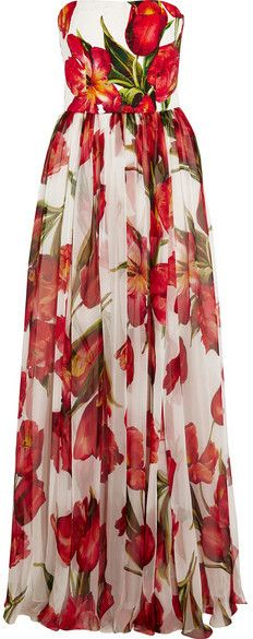 Dolce & Gabbana - Floral-print Silk-blend Matelassé And Chiffon Gown - Red