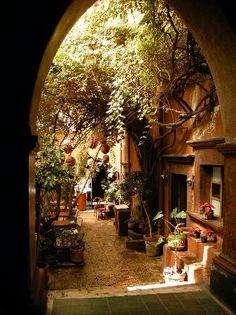 Like a secret courtyard.  (an estate, Casa de Flores -- Elysa's family's  residence -- on Vista Parkway)