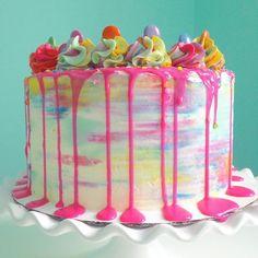 Neon chocolate ganache drip cake. Watercolor effect buttercream.