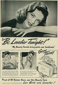 Lux Soap ad featuring Actress Gene Tierney, 1946.