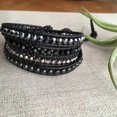 Wrap bracelet with faceted gunmetal beads black hematite jet