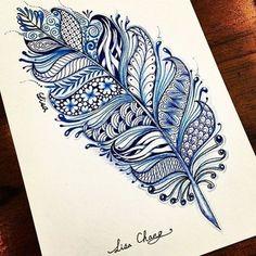 Bonus: Blue Feather - 31 of the Prettiest Mandala Tattoos on Pinterest - Photos