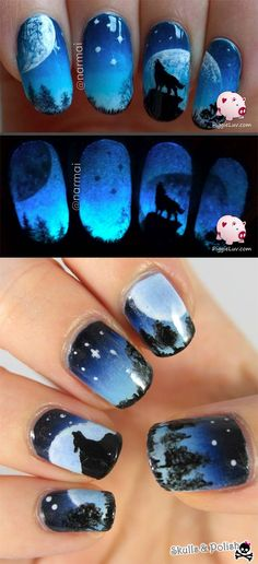 Nail Art Designs for Teens - Galaxy Wolf Twin Nails - Awesome DIY Summer Summer Nailart Designs - Easy and Cute Styles with Glitter and Gel - Works Great For Spring and Summer as well as Fall - Step By Step Tutorials with Crazy Designs With Rhinestones - Great Styles For Teens and For Kids - https://thegoddess.com/nail-art-designs-for-teens