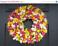 Custom Spring Wreath, Spring Decor, Mother's Day Wreath,  Wall Decor, Custom Colors, Spring Decoration  The ORIGINAL Tulip Wreath on Etsy, $67.50