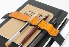 XL ipad Leather Journal Pen band holder / pencil case pen holder / School item / Simple Minimalist pencil case