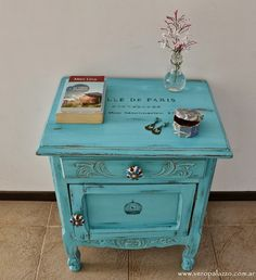 love a little turquoise nightstand
