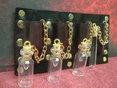 Etsy Transaction - Steampunk Victorian Bottle Handmade Belt Module Costume Accessory Glass Vials Brass Rivets Black Leather