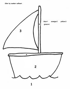 color by number sailboat craft and other Transportation worksheet for kids Kindergarten Colors, Preschool Colors, Kindergarten Activities, Letter B Activities, Craft Activities For Kids, Crafts For Kids, Thanksgiving Activities, Shape Tracing Worksheets, Color Worksheets For Preschool