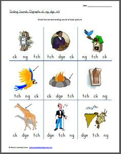 Practice Ending Sounds: Digraphs ch, ng, dge, th worksheet - for late K/First Grade