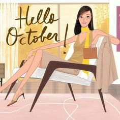 by Jordi Labanda Hello October, Oct 1, Pop Art Illustration, Illustrations And Posters, Fashion Illustrations, Months In A Year, Fashion Sketches, Cute Art, Female Art