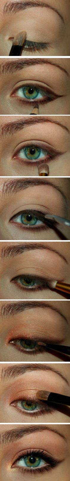 Maquillaje - Makeup - a step by step tutorial on how to put the copper-gold combination to your eyes. A very simple eye make-up but the sophistication is absolutely evident. Beauty Make-up, Beauty Secrets, Beauty Hacks, Hair Beauty, Beauty Tips, Beauty Style, Beauty Products, Eye Makeup, Makeup Tips