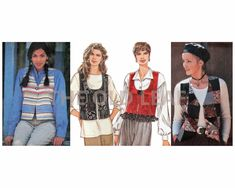 Sewing Pattern for 90s Vest with Design Variations, Simplicity 9152 #90sFashion #Boho #DYOClothes #PatchworkVest #ScoopNeck #FringeVest #TheOldLeaf