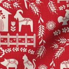 Colorful fabrics digitally printed by Spoonflower - Dala Farm in Blue // swedish folk art dala horse cat rooster pig goat bunny farm bright blue fabric Swedish Cottage, Swedish Decor, Swedish Farmhouse, Swedish Style, Christmas Tree Pattern, Christmas Art, Xmas, Scandinavian Quilts, Scandinavian Style