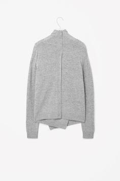 COS image 5 of Overlap wool jumper in Light Grey