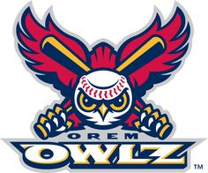 Orem Owlz Primary Logo (2005) - A red owl with a baseball head holding two baseball bats above team name