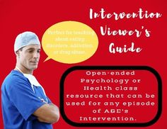Intervention Viewer's Guide for teaching Addiction, Eating Disorders, Drug Abuse High School Health, Health Class, Being Used, Disorders, Psychology, Addiction, Students, Track, Psicologia