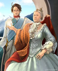 Roderich with Maria Theresa. Coloured version of http://www.pinterest.com/pin/398076054535179069/ - Art by ctcsherry.tumblr.com