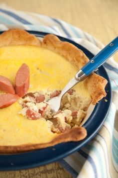 Paula Deen / Imagination Pie for a  meal - not a dessert. It is made with hot dogs.
