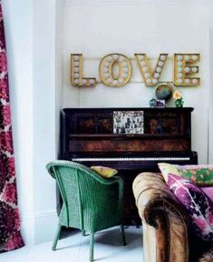 vintage marquee lights above piano, and that emerald green chair! vintage marquee lights above piano, and that emerald green chair! My Living Room, Home And Living, Living Area, Deco Boheme Chic, Sweet Home, Marquee Lights, Marquee Letters, Light Letters, Interior Decorating