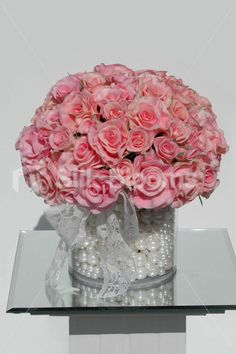 Silk Blooms 'Chloe' real touch pink rose table display. View here http://www.silkblooms.co.uk/vintage-real-touch-pink-rose-pearl-lace-table-floral-display-p-6941.html?cPath=1_340
