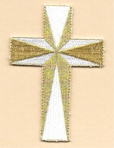 """Cross - Christian - Embroidered White/Metallic Gold Iron On Applique Patch - 3""""H 