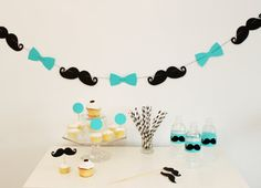 Little Man Bash. Mr Man Birthday. 1st Birthday. Mustache and Bowtie Garland. $13.00, via Etsy.