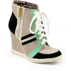 JESSICA SIMPSON Lexia Color-Block Wedge Sneakers ($33) ❤ liked on Polyvore featuring shoes, sneakers, green multi, leather sneakers, studded lace-up wedge sneakers, leather shoes, wedge sneakers and wedge shoes