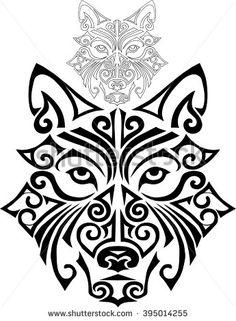 Hand drawn wolf head stylized Maori face tattoo. Vector