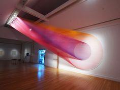 Rainbow thread installation by Gabriel Dawe. See more: https://artpeople.net/2016/11/gabriel-dawe-instillation-thread-rainbows/