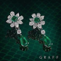 Floral Fluorescence Resembling a flower, these emerald and diamond earrings… #DiamondJewelry