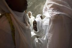 Ethiopian Orthodox worshippers attend the washing of the feet ceremony at the Ethiopian section of the Church of the Holy Sepulchre in Jerusalems Old City, ahead of Orthodox Easter.