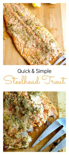 Quick and Simple Steelhead Trout Recipe is elegant enough for entertaining guests, but it's also simple enough to make it for weeknight dinners (Baked Butter Shrimp) Trout Recipes Oven, Fish Recipes, Seafood Recipes, Cooking Recipes, Healthy Recipes, Cookbook Recipes, Grilled Trout Recipes, Dinner Recipes, Game Recipes