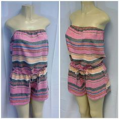 """OLD NAVY Heather Pink Gray Stripped Romper OLD NAVY Heather Pink Gray Stripped Romper, strapless, elastic drawstring waist, 2"""" side vent on hem, machine washable,  55% linen, 45% rayon,  27"""" length shoulder to hem, 15 1/2"""" bust laying flat but elastic tube top style stretches to 19"""" flat comfortably,  3"""" insean, 12""""  length waist to hem, size M but READ MEASUREMENTS Old Navy Pants Jumpsuits & Rompers"""