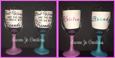 """Great gift for your Bridal Party, Girls Night Out, Birthday Parties, or Wine Tasting with Friends. The stem of the wine glass is coated with glitter and sealed for a smooth finish. The bowl of the wine glass will have the quote """"The Best Wines are the ones you drink with Friends"""" and the opposite side will have the personalized name with glitter vinyl to match the stem. https://www.etsy.com/listing/247032027/personalized-glitter-stem-sparkly-best?ref=listing-shop-header-2"""