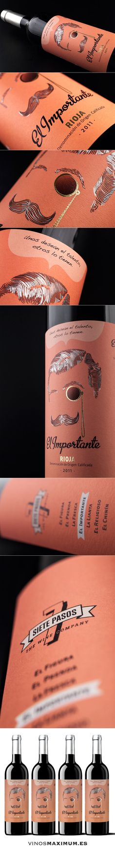 Siete pasos - El Importante - D.O.C. Rioja. Tempranillo 100%. Tinto Crianza. Spain. more awesome #illustrated #wine #packaging PD