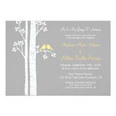 Die Cut Chalkboard Love Bird Birch Tree Wedding Card