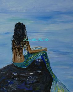 "FANTASY ART Mermaid Mermaids Mermaid Art Ocean Wall Art Print Seascape Fantasy Sea Art Decor Sea Mythical  ""Mermaid Magic"" Leslie Allen"
